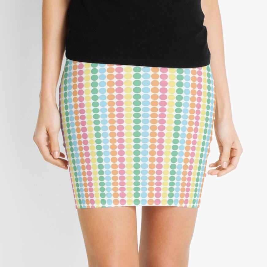 Colourful Circle Pattern Mini Skirt Front