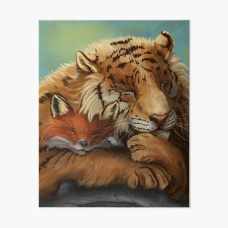 Sleeping Tiger and Fox ~ Friendship Art Board Print