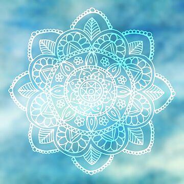 Blue Sky Mandala by julieerindesign