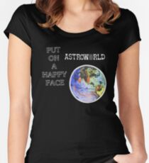 Astroworld Put On A Happy Face logo Women's Fitted Scoop T-Shirt