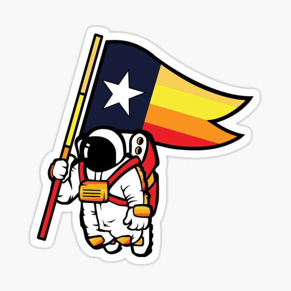 Houston Champ Texas Flag Astronaut Space City Sticker