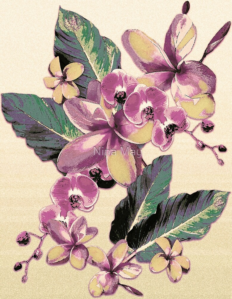 Tropical Vintage Plumerias Golden by Nina May