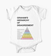 Graham's Hierarchy of Disagreement How to disagree pyramid diagram funny philosophy fallacies on white background Helvetica One Piece - Short Sleeve