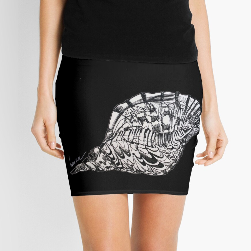 Seashell Print Beach Minimalist, Oriental Zen, Sumi e, ink, ocean, sea life, bay, harbor, beach, modern decor, coastal, watercolor, black white, mermaid, pearl   Mini Skirt Front