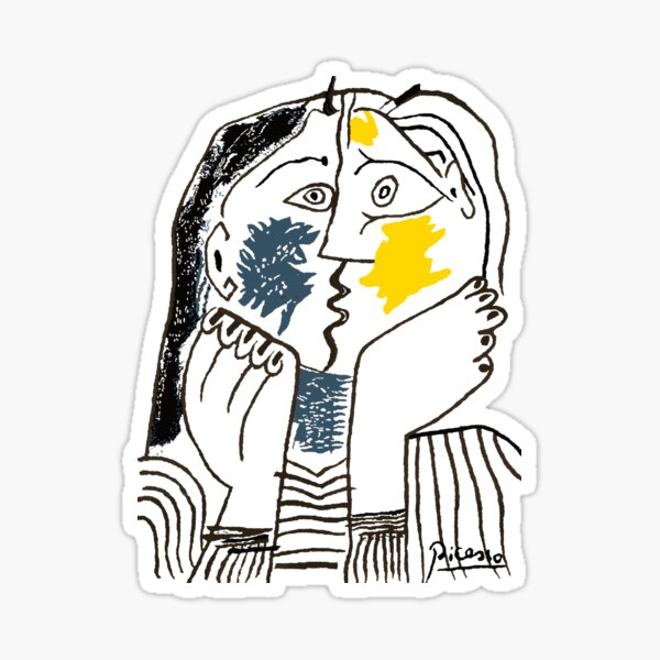 Pablo Picasso The Kiss 1979 Artwork Reproduction For T Shirt, Framed Prints Sticker