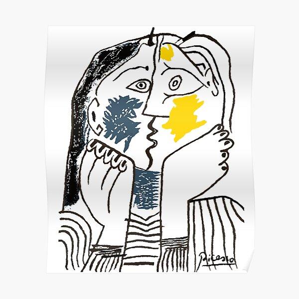 Pablo Picasso The Kiss 1979 Reproduction d'œuvres d'art pour T-shirt, impressions encadrées Poster