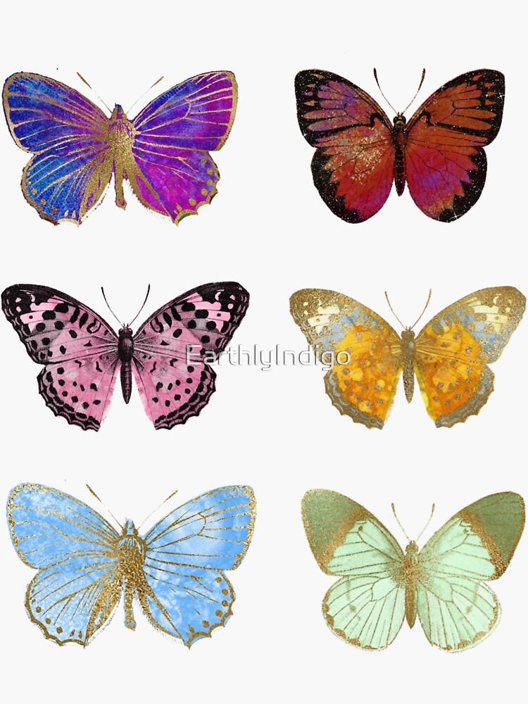 Watercolor Butterflies, Colorful Butterfly Stickers by EarthlyIndigo