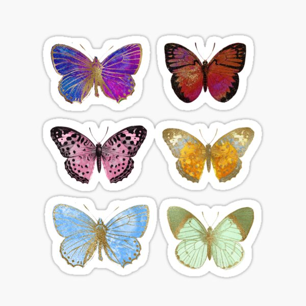 Watercolor Butterflies, Colorful Butterfly Stickers Sticker
