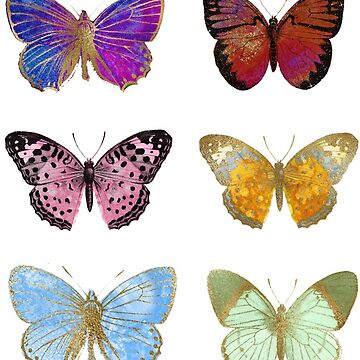 Watercolor Butterflies, Colorful Butterfly Stickers by EarthlyIndigo