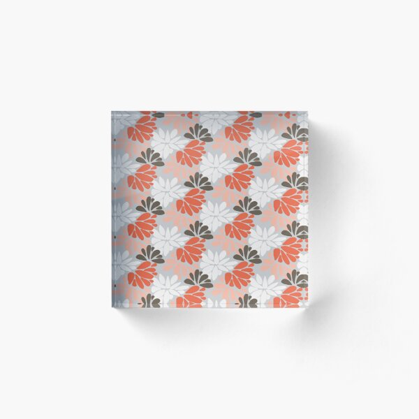 Japanese inspired floral on grey Acrylic Block
