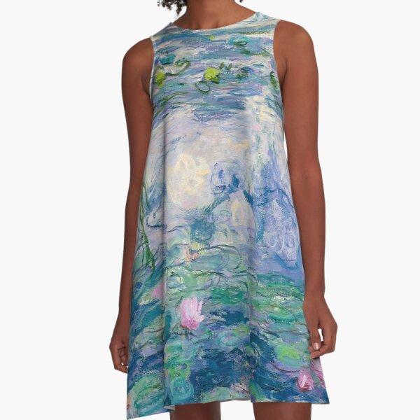 Water Lilies Claude Monet Fine Art A-Line Dress