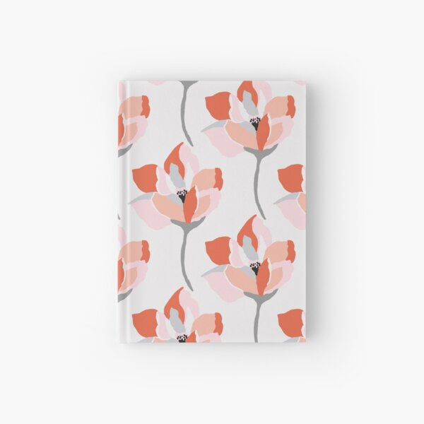 Pretty, stylised coral floral  Hardcover Journal