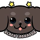 KAWAII Black Labrador Dog Face by TechraNova