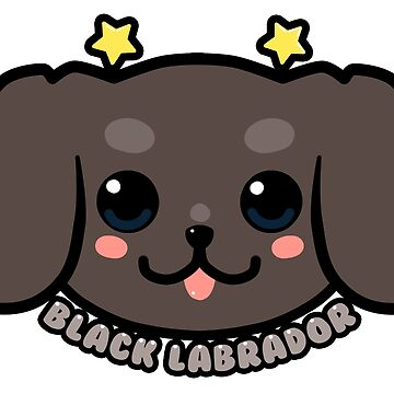 KAWAII Black Labrador Dog Face by TechraNova