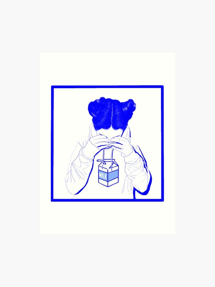 Japanese Milk Vaporwave Aesthetic Sad Girl Crying Over Milk Art Print