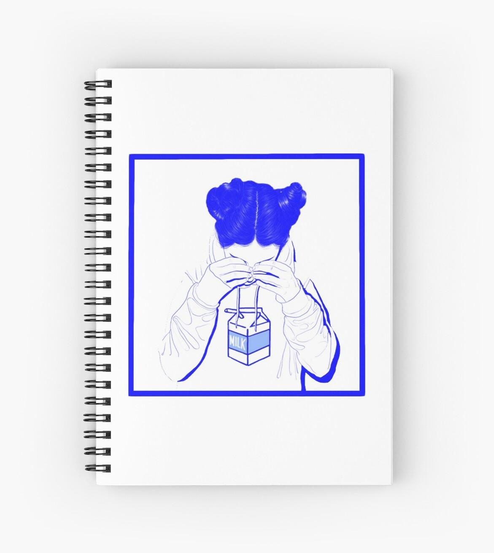 Japanese Milk Vaporwave Aesthetic Sad Girl Crying Over Milk Spiral Notebook By Rmorra