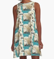 White Fluffy Sealyham Terrier Dog Painting Pattern A-Line Dress