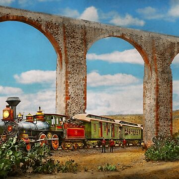 Train - The Aqueduct of Santiago de Querétaro 1885 by mikesavad
