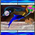 Alien Dolphin in Alien Sea by Faith Dominoe