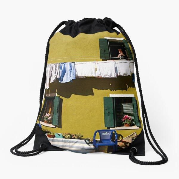 Laundry Day in Burano Drawstring Bag