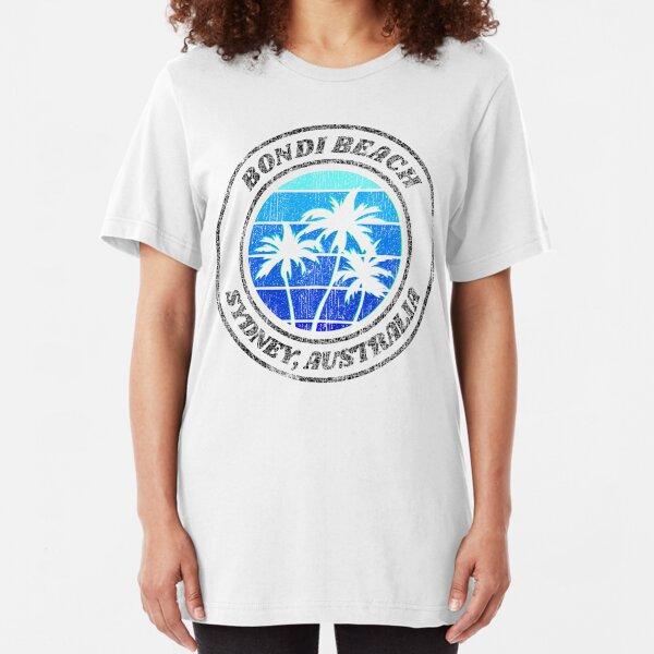Bondi Beach Sydney Australia Retro Distressed Slim Fit T-Shirt