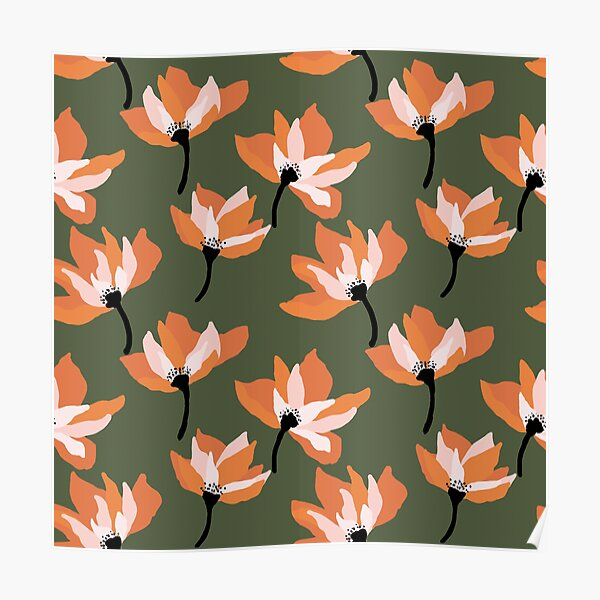 Bold orange floral on army green Poster