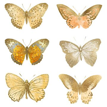 Gold Butterflies, Sparkly Gold Butterfly Stickers by EarthlyIndigo