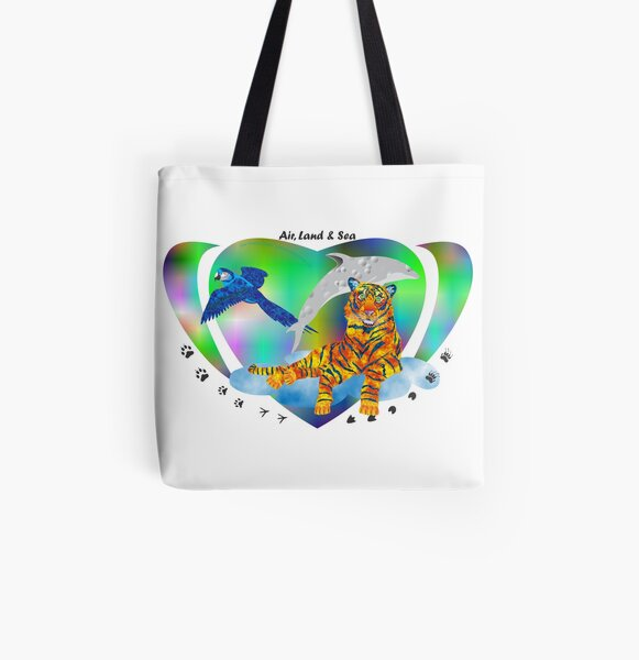 Air, Land & Sea Creatures All Over Print Tote Bag