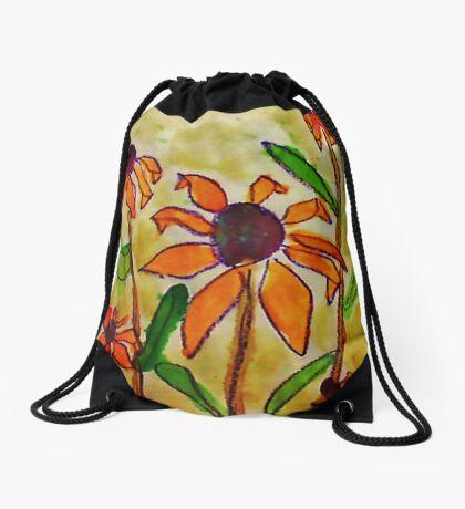 The Original Crazy Daisey, watercolor Drawstring Bag