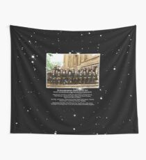 1927 Solvay Conference (deep space NGC3660 bg), posters, prints Wall Tapestry