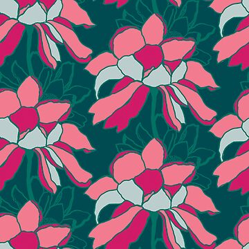 Colour block floral on emerald green by Pattern-Design