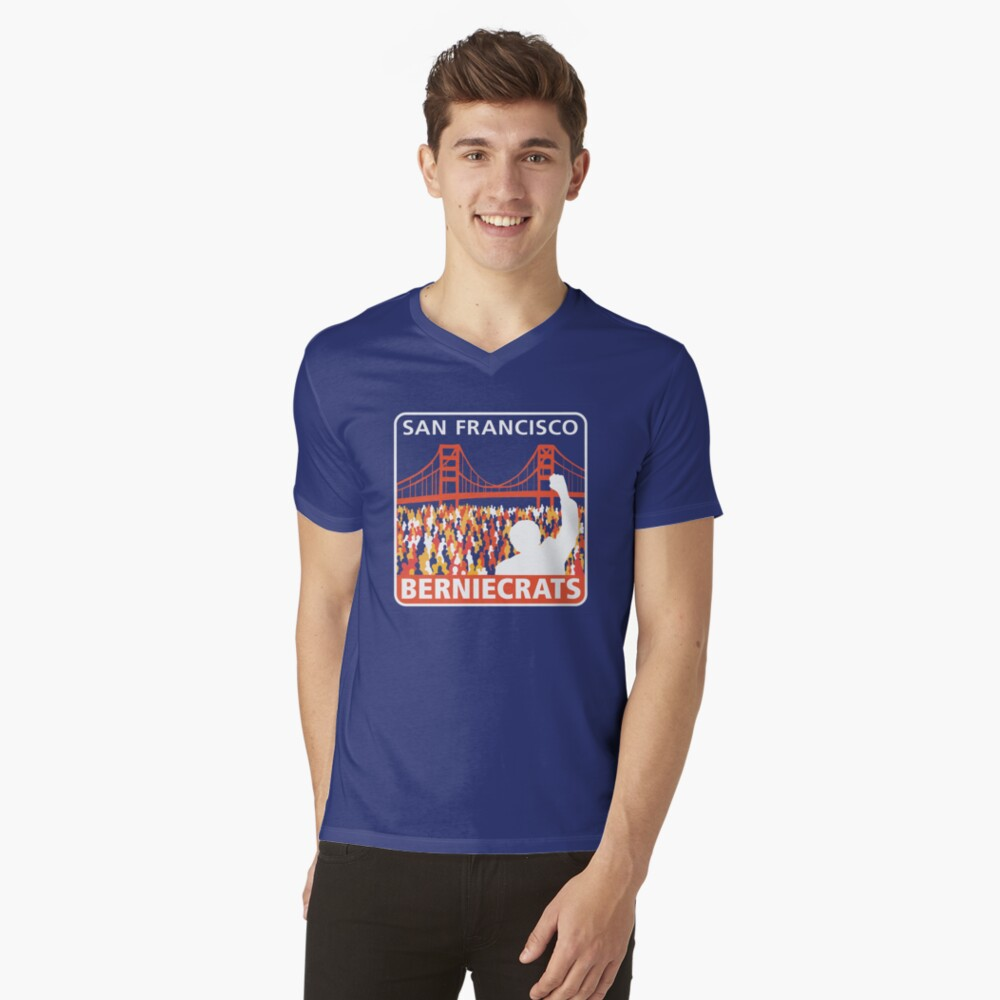 SF Berniecrats Mens V-Neck T-Shirt Front
