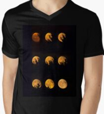 Red blood waning moon Men's V-Neck T-Shirt