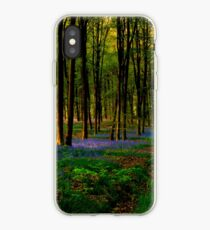 Bluebell woodland path and sunset iPhone Case