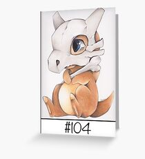 Cubone, lonely pokemon Greeting Card