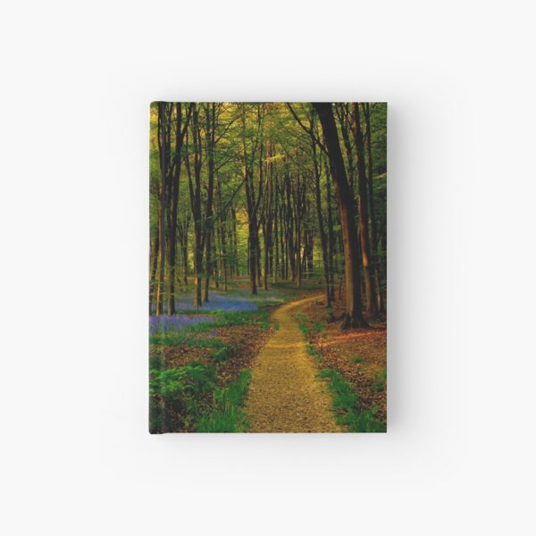Bluebell woodland path and sunset Hardcover Journal