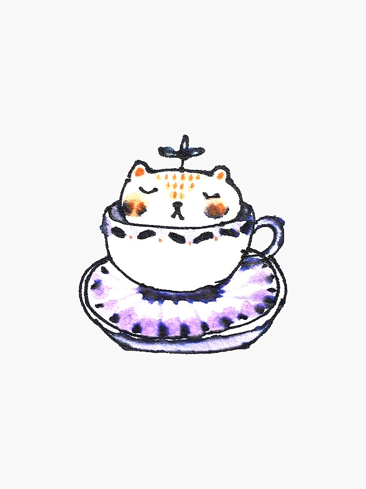 Leaf Bear Relaxing in a Tea Cup by whya