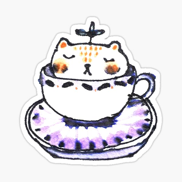 Leaf Bear Relaxing in a Tea Cup Sticker