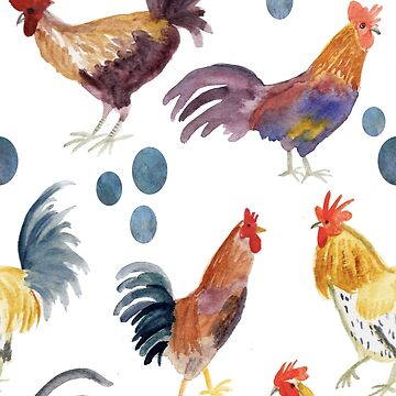 Chickens chickens chickens! Fun watercolor chickens pattern by shoshannahscrib