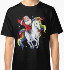 Santa Riding Unicorn T Shirt Christmas Gifts Rainbow Space Xmas T-shirt Gifts Ideas Classic T-Shirt