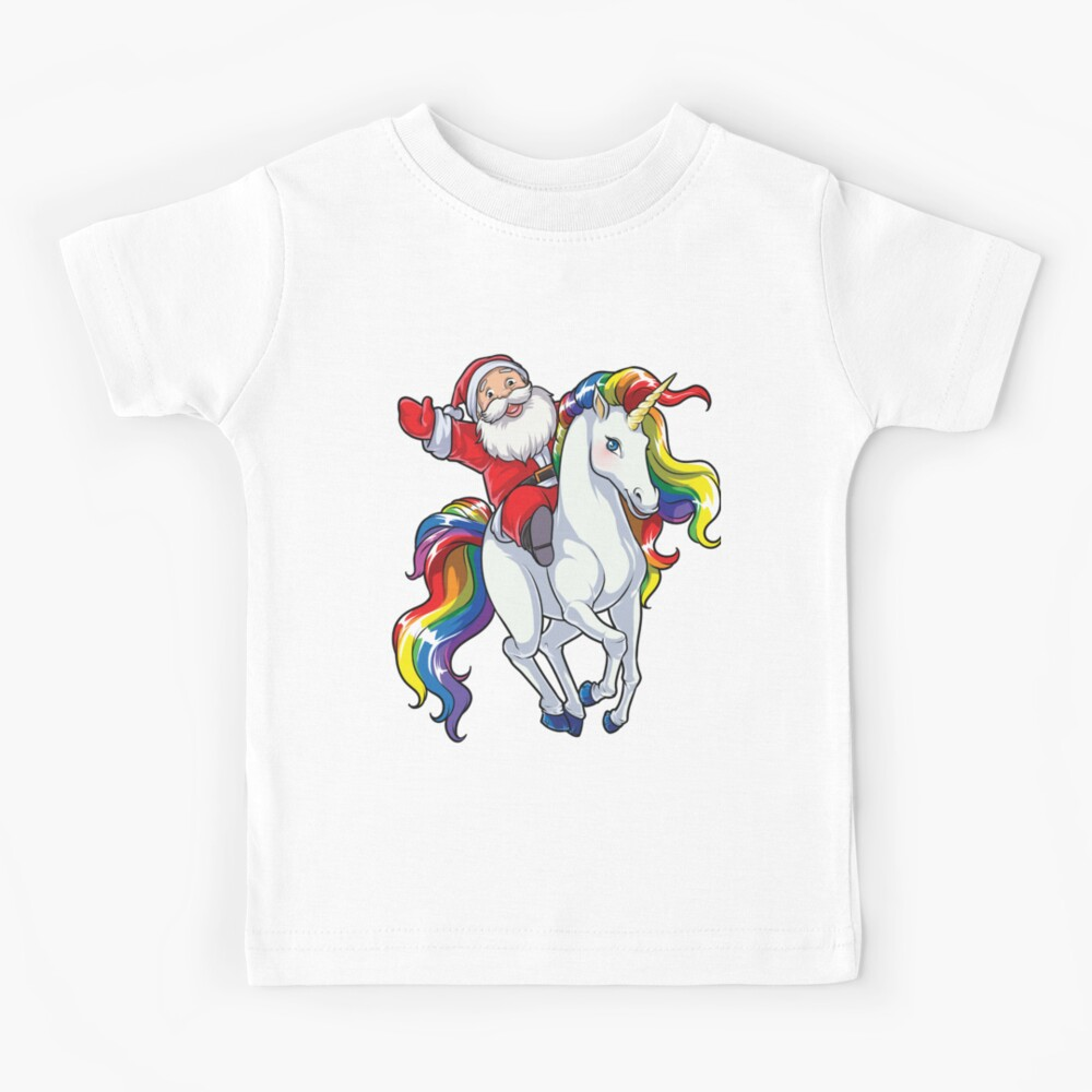 Santa Riding Unicorn T Shirt Christmas Gifts Rainbow Space Xmas T-shirt Gifts Ideas Kids T-Shirt