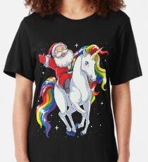 Santa Riding Unicorn T Shirt Christmas Gifts Rainbow Space Xmas T-shirt Gifts Ideas Slim Fit T-Shirt