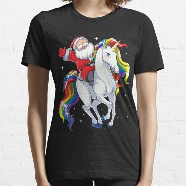 Santa Riding Unicorn T Shirt Christmas Gifts Rainbow Space Xmas T-shirt Gifts Ideas Essential T-Shirt