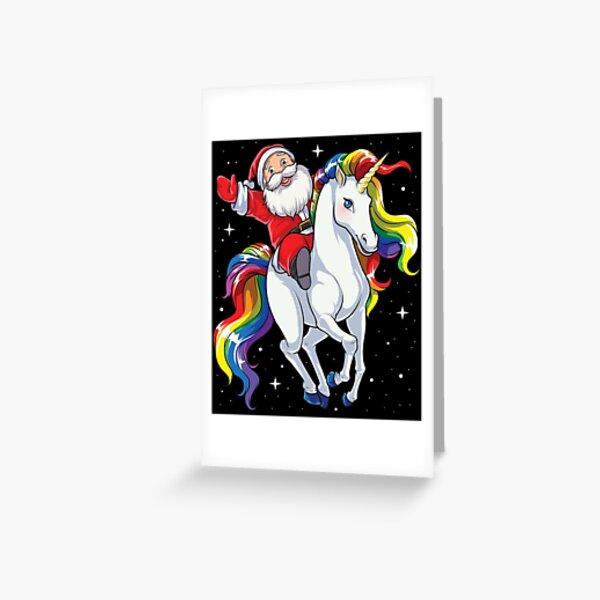 Santa Riding Unicorn T Shirt Christmas Gifts Rainbow Space Xmas T-shirt Gifts Ideas Greeting Card