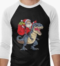 Santa Riding Dinosaur T rex T Shirt Christmas Gifts X-mas Kids Boys Girls Man Women Men's Baseball ¾ T-Shirt