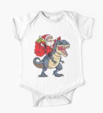 Santa Riding Dinosaur T rex T Shirt Christmas Gifts X-mas Kids Boys Girls Man Women Short Sleeve Baby One-Piece