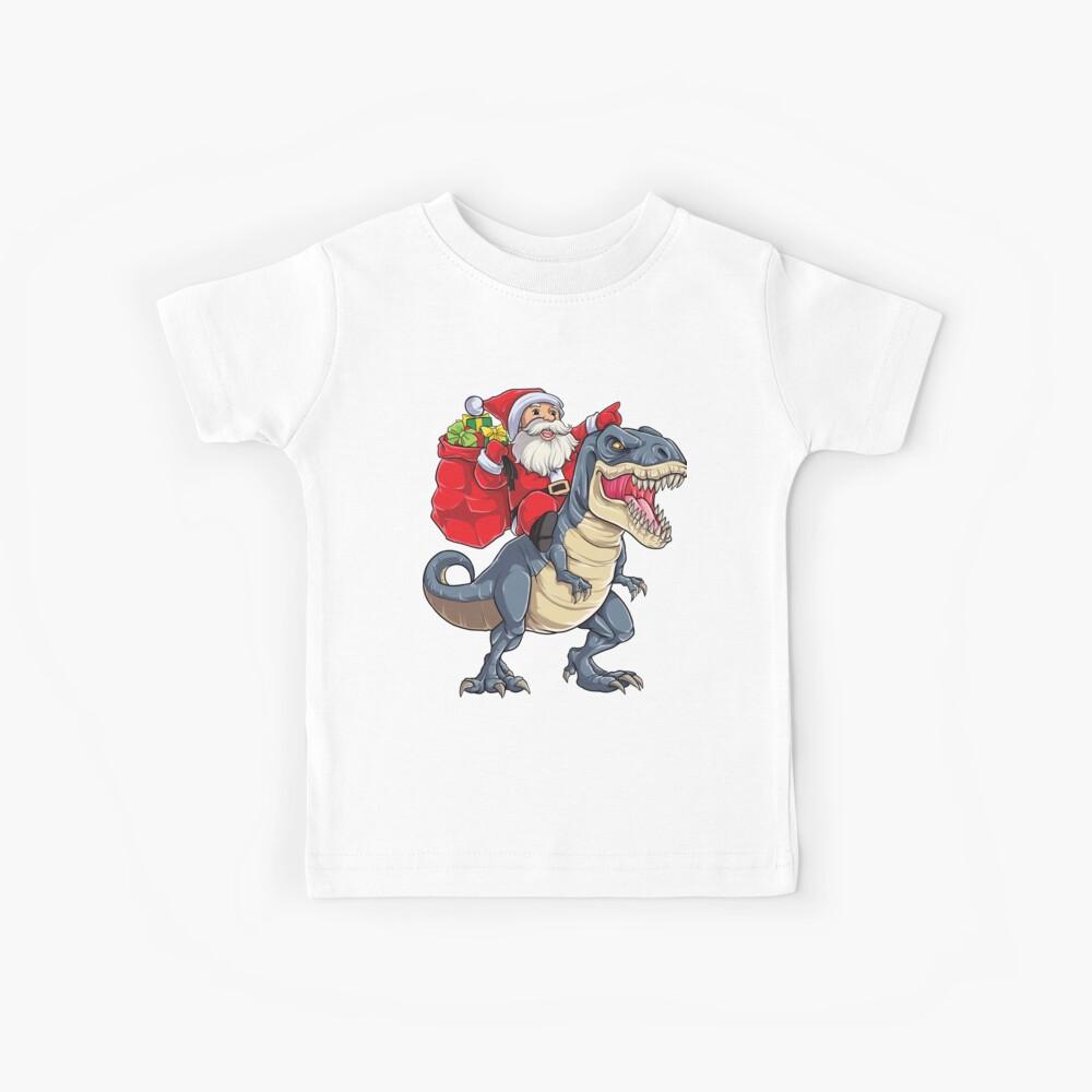 Santa Riding Dinosaur T Rex T-shirt Regalos de Navidad X-mas Niños Niños Niñas Hombre Mujeres Camiseta para niños
