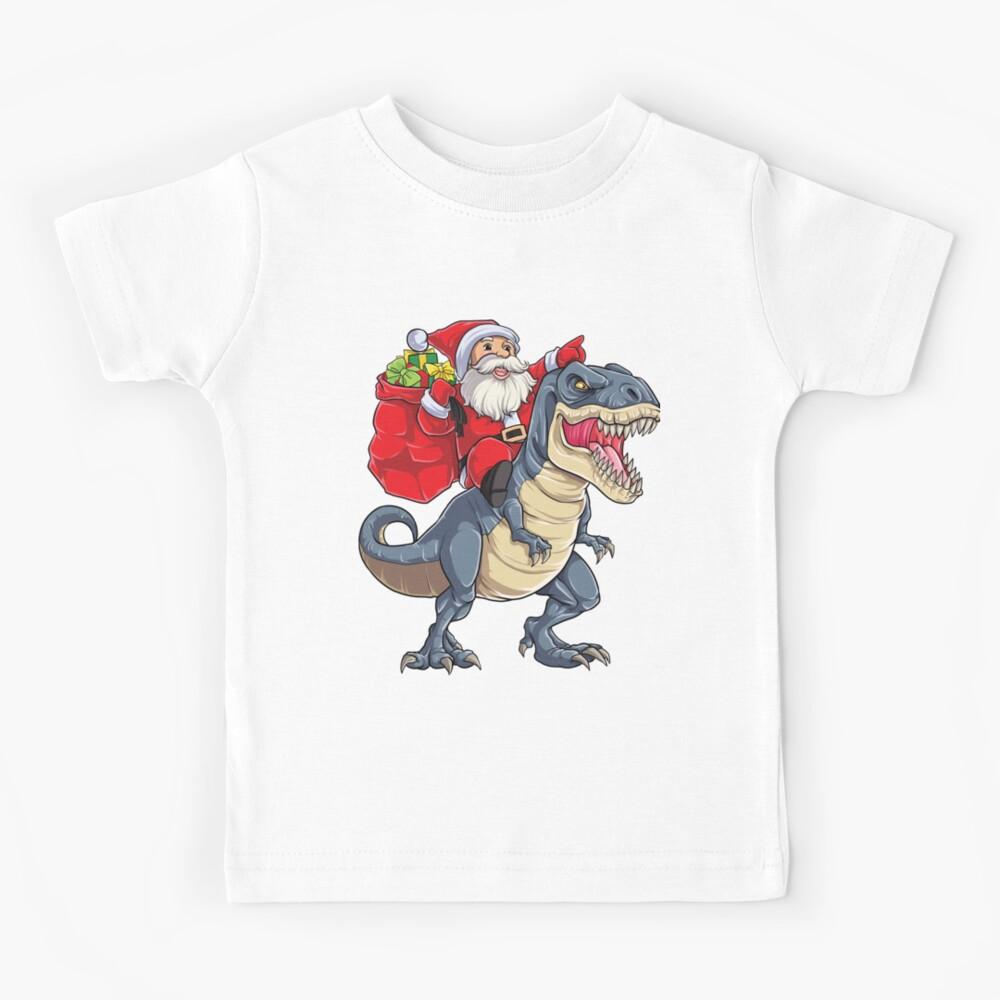 Santa Riding Dinosaur T rex T Shirt Christmas Gifts X-mas Kids Boys Girls Man Women Kids T-Shirt