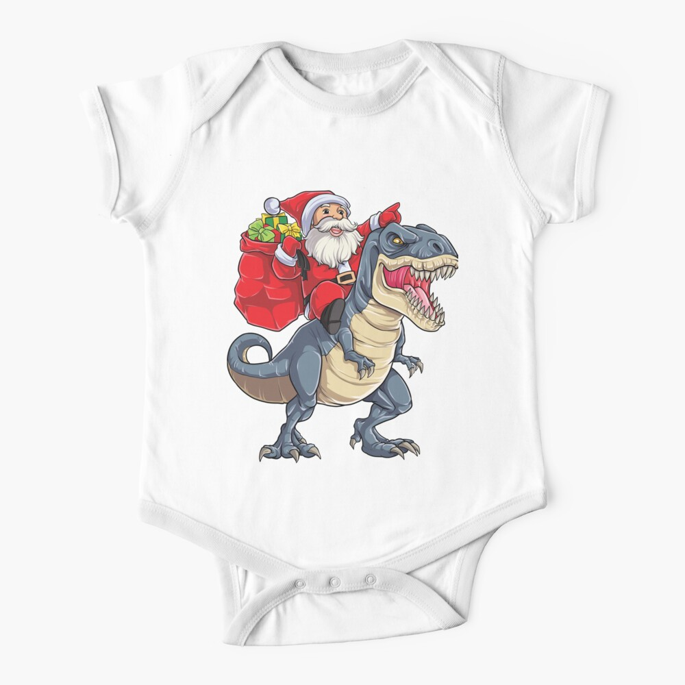 Santa Riding Dinosaur T rex T Shirt Christmas Gifts X-mas Kids Boys Girls Man Women Baby One-Piece