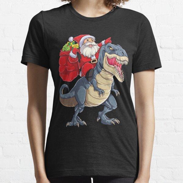 Santa Riding Dinosaur T rex T Shirt Christmas Gifts X-mas Kids Boys Girls Man Women Essential T-Shirt